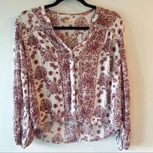 Hollister Floral Print Peasant Top